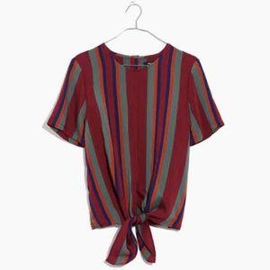 Madewell Button Back Tie Tee in Rosalinda Stripe